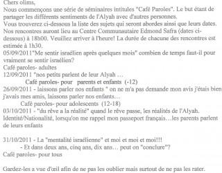 Séminaires «Café-Paroles» du Ministère de l'Intégration