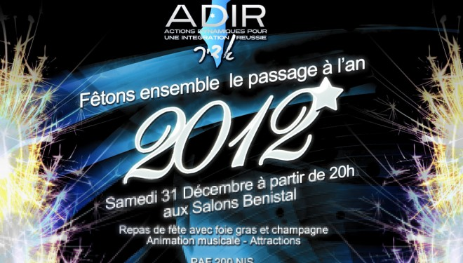 ADIR : Venez fêter entre amis la nouvelle année civile!