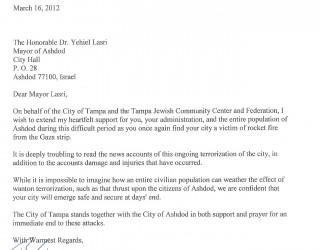 Un maire de Floride soutien Ashdod après les attaques de Roquettes provenant de Gaza