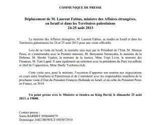 Laurent Fabius en Israël et dans les Territoires palestiniens les 24-25 août 2013