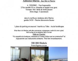 Ashkelon Marina à vendre petit appartement