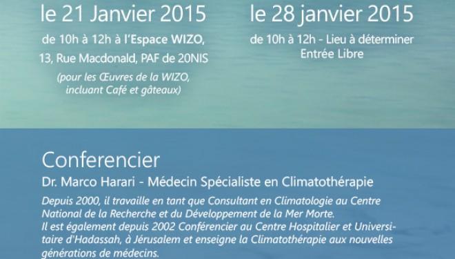Cycle de conferences : la mer morte, entre tourisme et soins médicaux