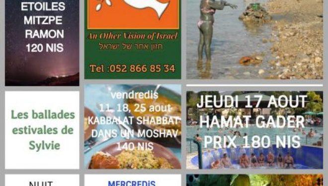 Touristes ou résidents participez aux «ballades estivales de SYLVIE TOURS & EVENTS» au départ d'Ashdod ce mois d'Août