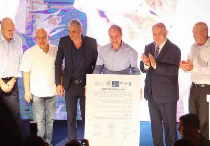 Benjamin Netanyahu en visite hier a Ashdod pour signer un accord historique : la construction de logements (projet Kahlon)