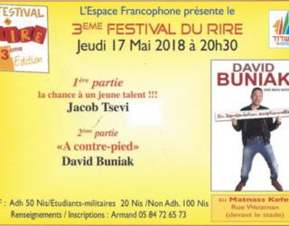 3 ème festival du rire de l'Espace Francophone : «A contre-pied» le 17 Mai 2018 à 20 h 30